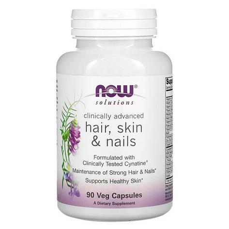 Витамины для Кожи, Волос и Ногтей, Hair, Skin & Nails, Now Foods, 90 вегетарианских капсул, фото 2