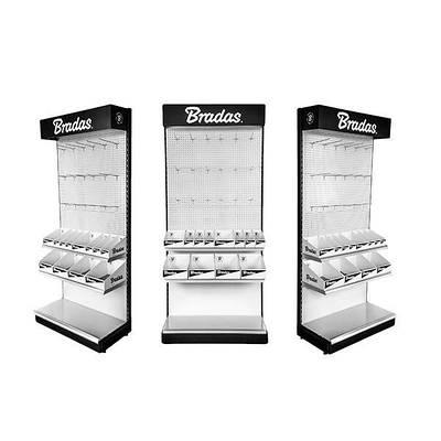 Металлическая витрина с картонными коробками,  EXPO39
