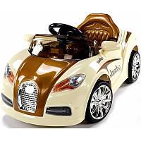 Дитячий електромобіль на акумуляторі Cabrio BU коричневий з пультом управління і музикою MP3