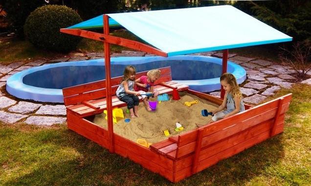 Детская игровая уличная песочница с крышей (120*120) стол 2 лавки (песочница для детей с навесом )
