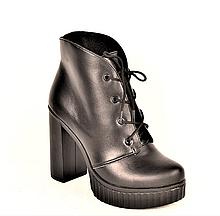 Ботильоны на высоком каблуке кожаные черные