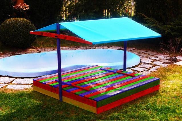 Детская игровая уличная песочница с крышей 150х150 см стол 2 лавки (песочница для детей с навесом)