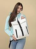 Большой женский городской желтый рюкзак роллтоп экокожа (качественный кожзам), фото 9
