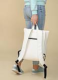 Большой женский городской желтый рюкзак роллтоп экокожа (качественный кожзам), фото 10