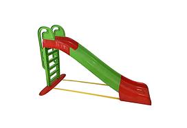 Дитяча ігрова гірка пластикова 243 см зі сходами і підключенням води Зелена (гірка спуск)