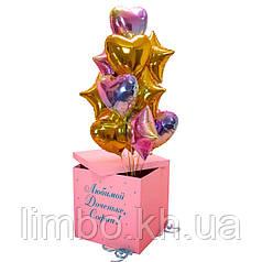 Коробка сюрприз  с фольгированными шарами градиент