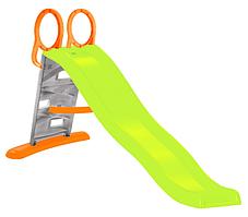 Дитяча ігрова гірка пластикова 205 Mochtoys зі сходами і підключенням води зелена(гірка спуск)