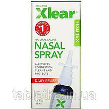 Xlear, Солевой назальный спрей с ксилитолом, быстрого действия, 45мл