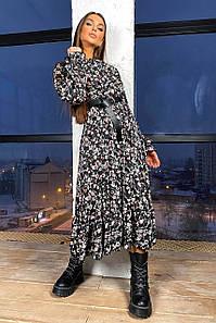 Платье с пышной юбкой бантом и рюшами с 42 по 48 размер