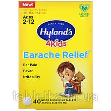 Hyland's, 4 Kids, Earache Relief, Ages 2-12, 40 Quick-Dissolving Tablets