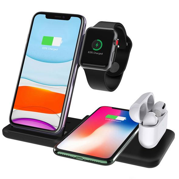 Бездротова зарядка стенд Smart 4in1 Fast 15W (Phone+Phone+Apple Watch+AirPods) Black