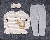 НЕДОРОГО нарядний костюм для новонародженої дівчинки з пов'язкою р. 12-18 міс. Туреччина Слоник паєтки, фото 1
