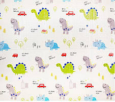 Детский двухсторонний складной коврик Панда\Динозавры 200x180x1см, фото 2