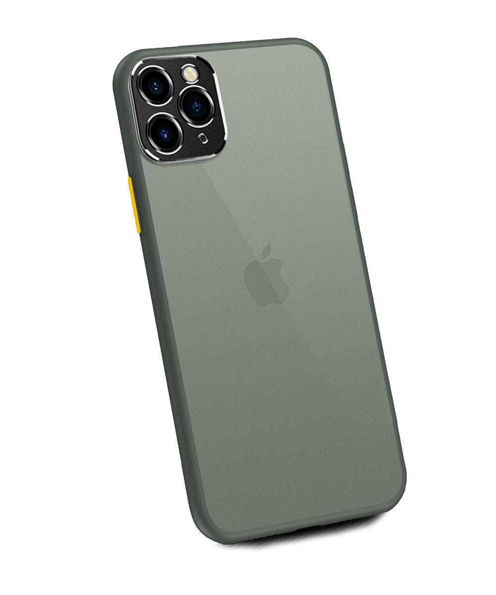 Чехол накладка xCase для iPhone 11 Pro Max Matt Case Camera Lens Gray yellow