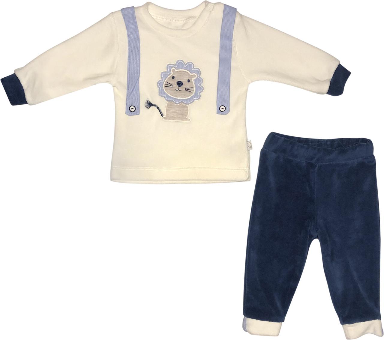 Костюм на хлопчика ріст 80 9-12 міс для новонароджених малюків комплект дитячий нарядний велюровий синій