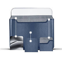 "Папка-конверт для MacBook Leather standing pouch 13"" dark blue, фото 2"