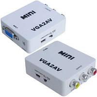 Конвертер VGA в AV, гнездо VGA (IN) - 3 гнезда RCA (OUT) mini