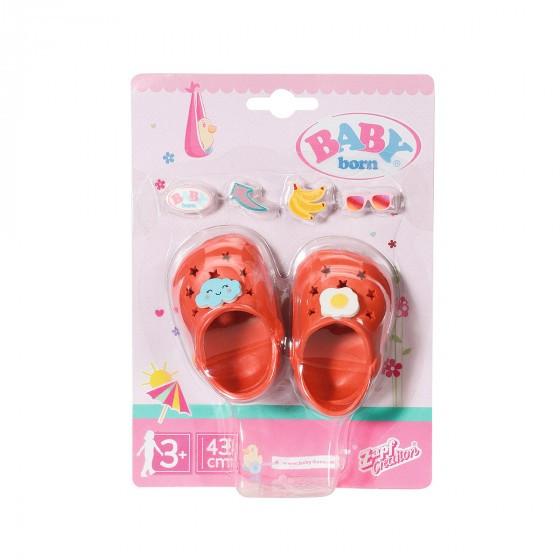 Обувь для куклы BABY born - Праздничные сандалии кроксы с значками (красные) Zapf Creation  828311-3