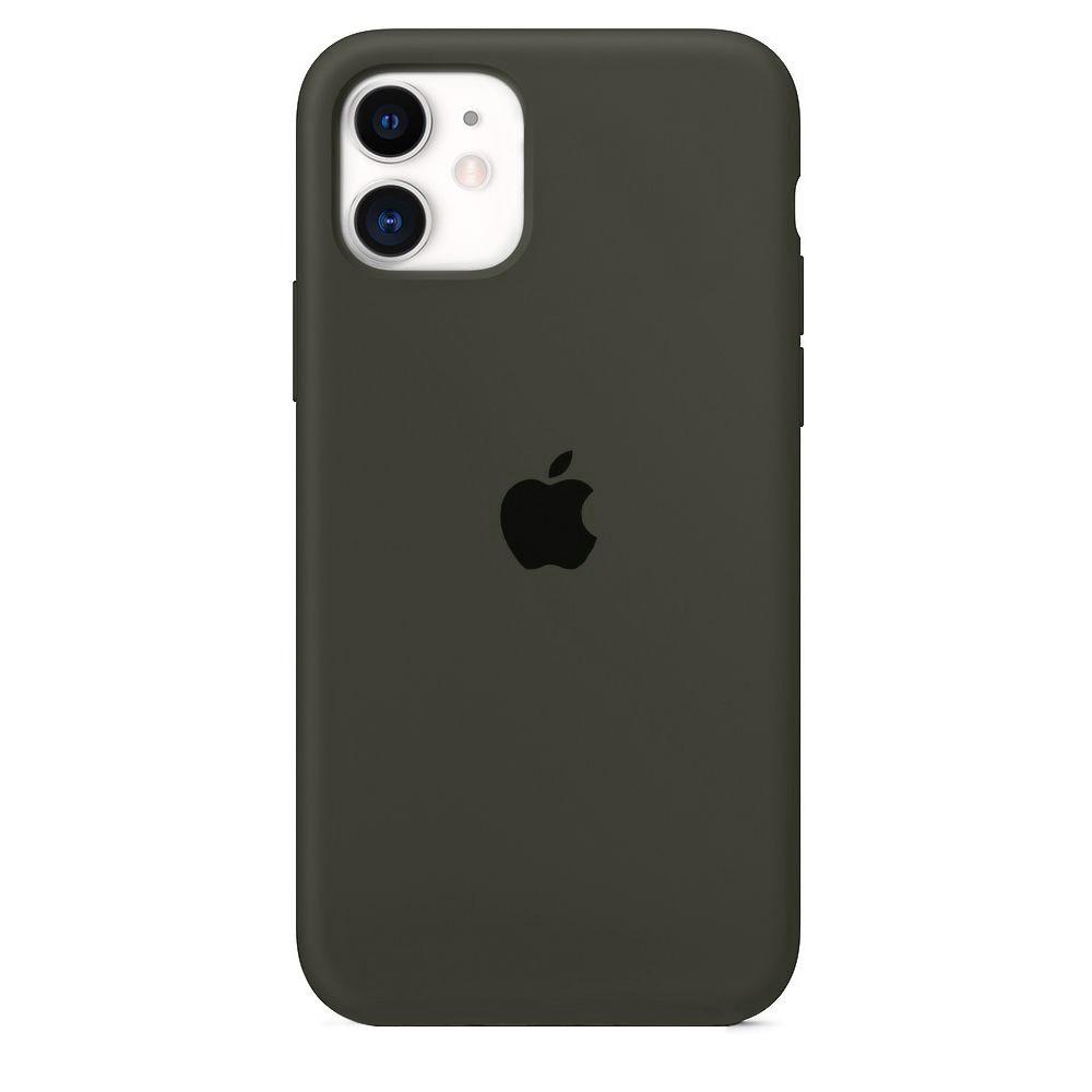 Чехол накладка xCase для iPhone 11 Silicone Case Full темно-оливковый