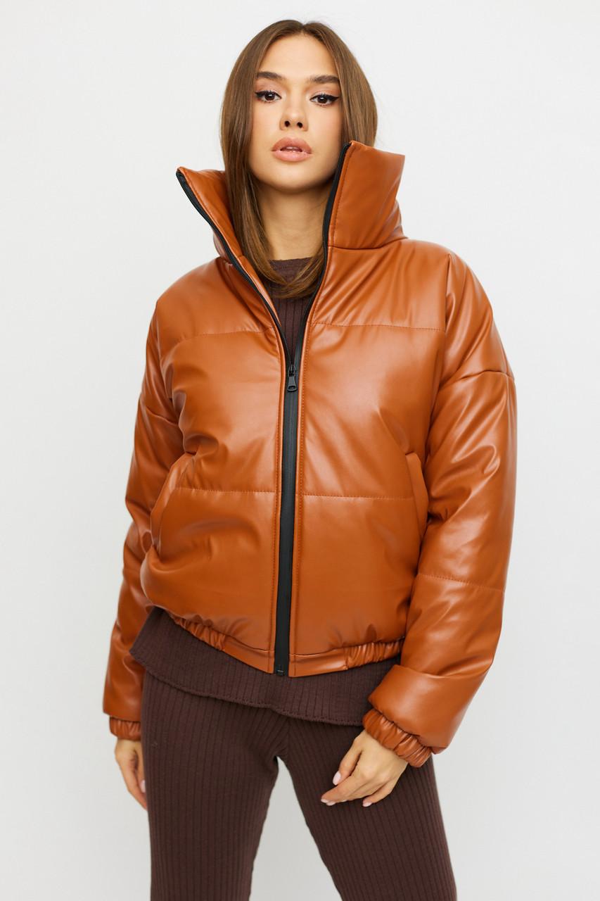 Коротка демісезонна куртка з екошкіри жіноча
