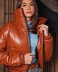 Коротка демісезонна куртка з екошкіри жіноча, фото 4
