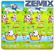 Детский двухсторонний развивающий коврик Мишка с пингвином/Парк с животными 200x180x1см