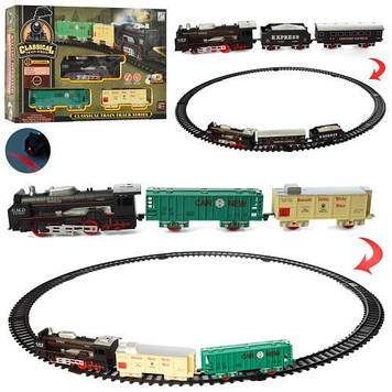 Залізниця на бат-ці,локомотив,15см,2вагони,звук.,світ.,11дет.,в кор-ці №19058-1-2(24)