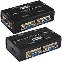Сплиттер VGA (мини) на 4 порта MT-VIKI, 1 гнездо VGA - 4 гнездо VGA, DC-9V, 300mA, с питанием MT-2504-A
