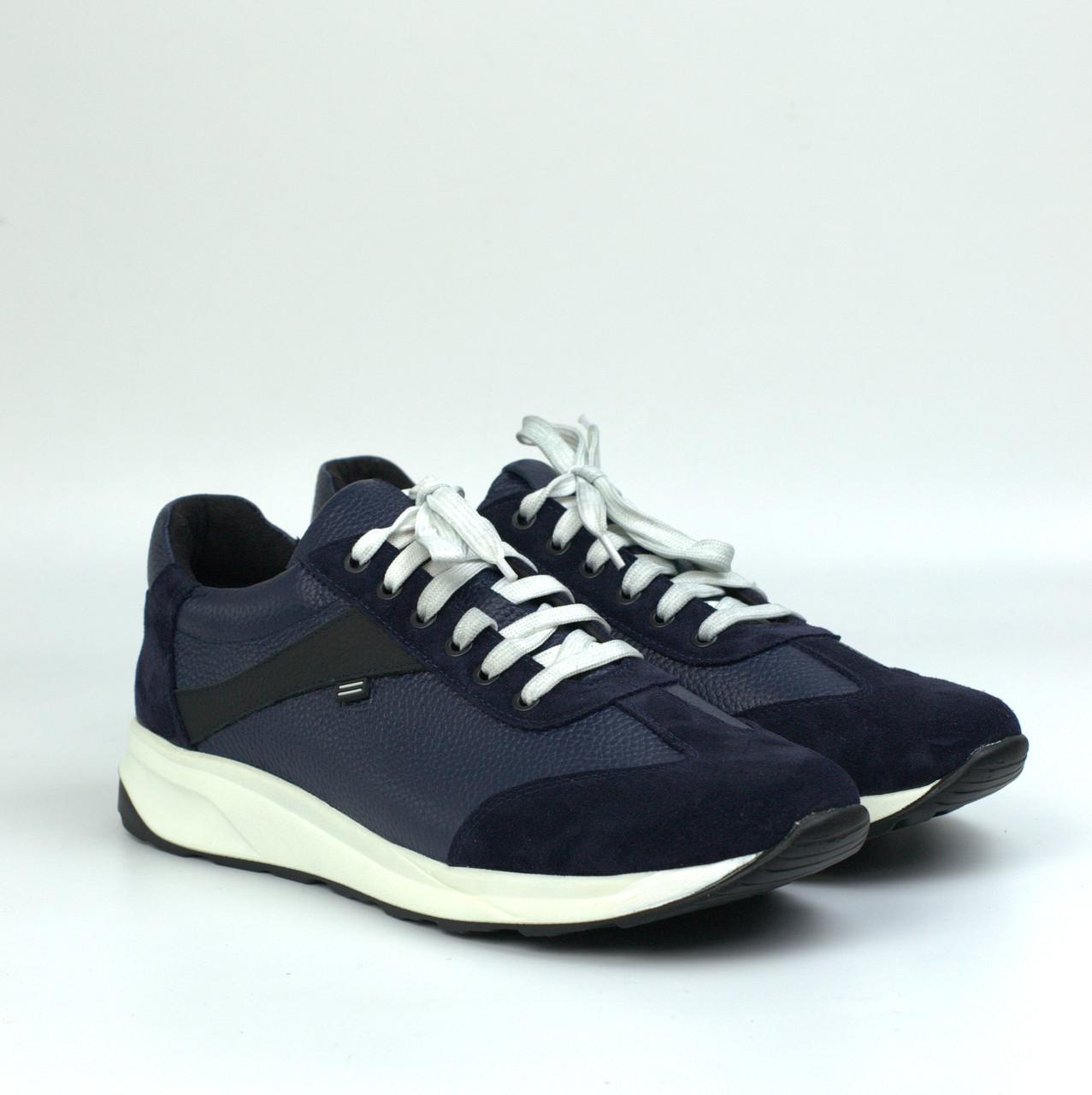 Кроссовки мужские сникерсы повседневные кожаные синие нубук вставки обувь весна Rosso Avangard DolGa Blu Floto