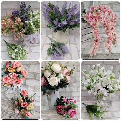 Штучні квіти, букети, декоративна зелень