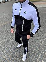 Спортивный костюм в стиле Puma BMW Черный с белым Двунить Весна/Лето/Осень Размеры: S, M, L, XL