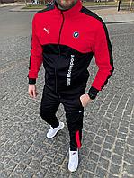 Спортивный костюм в стиле Puma BMW Красный с черным Двунить Весна/Лето/Осень Размеры: S, M, L, XL