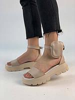 Кожаные женские босоножки без каблука + сумочка (съемная) AV0161