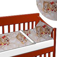 """Постельный комплект в кроватку на резинке """"Мишки спят"""" КПБ-1 Беби-Текс 36229, Желтый, 3 пр."""