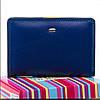 Женский кожаный кошелек  13.5x9.5x2.5 синий