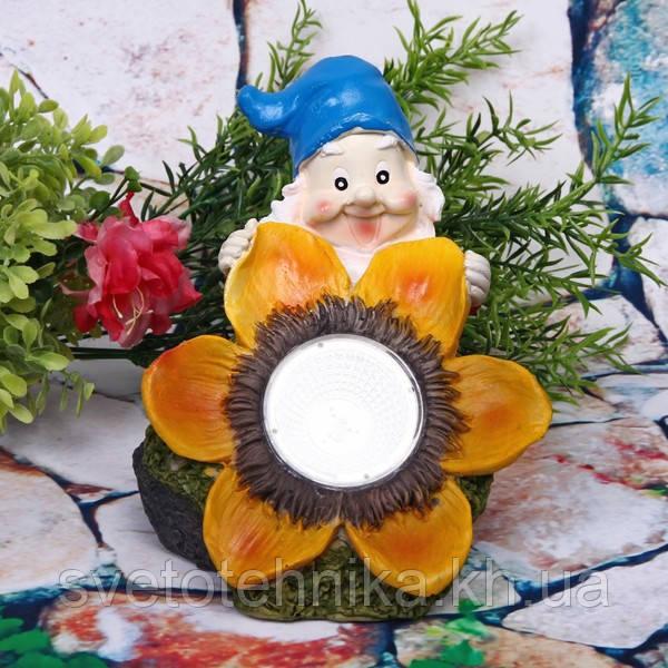 Светильник садово-парковый Lemanso CAB 85 (гном с цветком) на солнечной батарее LED