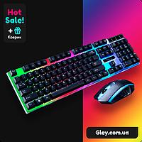 Проводной игровой комплект UKC KEYBOARD Combo Gamer K01 клавиатура и мышка с LED подсветкой+ ПОДАРОК коврик