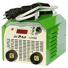 Зварювальний інвертор Атом I-250D з кабелем КГ-25 3+4 м і затисками Binzel