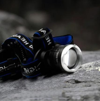 Мощный налобный фонарик Bailong BL T24 - P50 2*18650 battey, фото 2