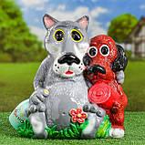 Садовий декор Вовк та Собака з м'ясом та пляшкою 35 см кераміка, фото 2