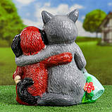 Садовий декор Вовк та Собака з м'ясом та пляшкою 35 см кераміка, фото 4