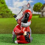 Садовий декор Вовк та Собака з м'ясом та пляшкою 35 см кераміка, фото 3