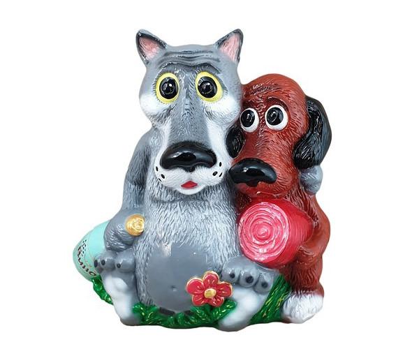Садовий декор Вовк та Собака з м'ясом та пляшкою 35 см кераміка