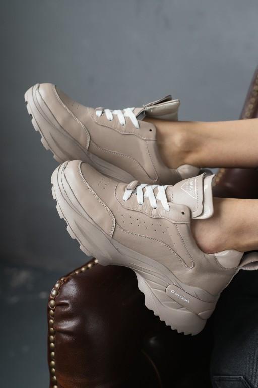 Женские кроссовки кожаные Ditas Amore Mezzi Beige бежевые