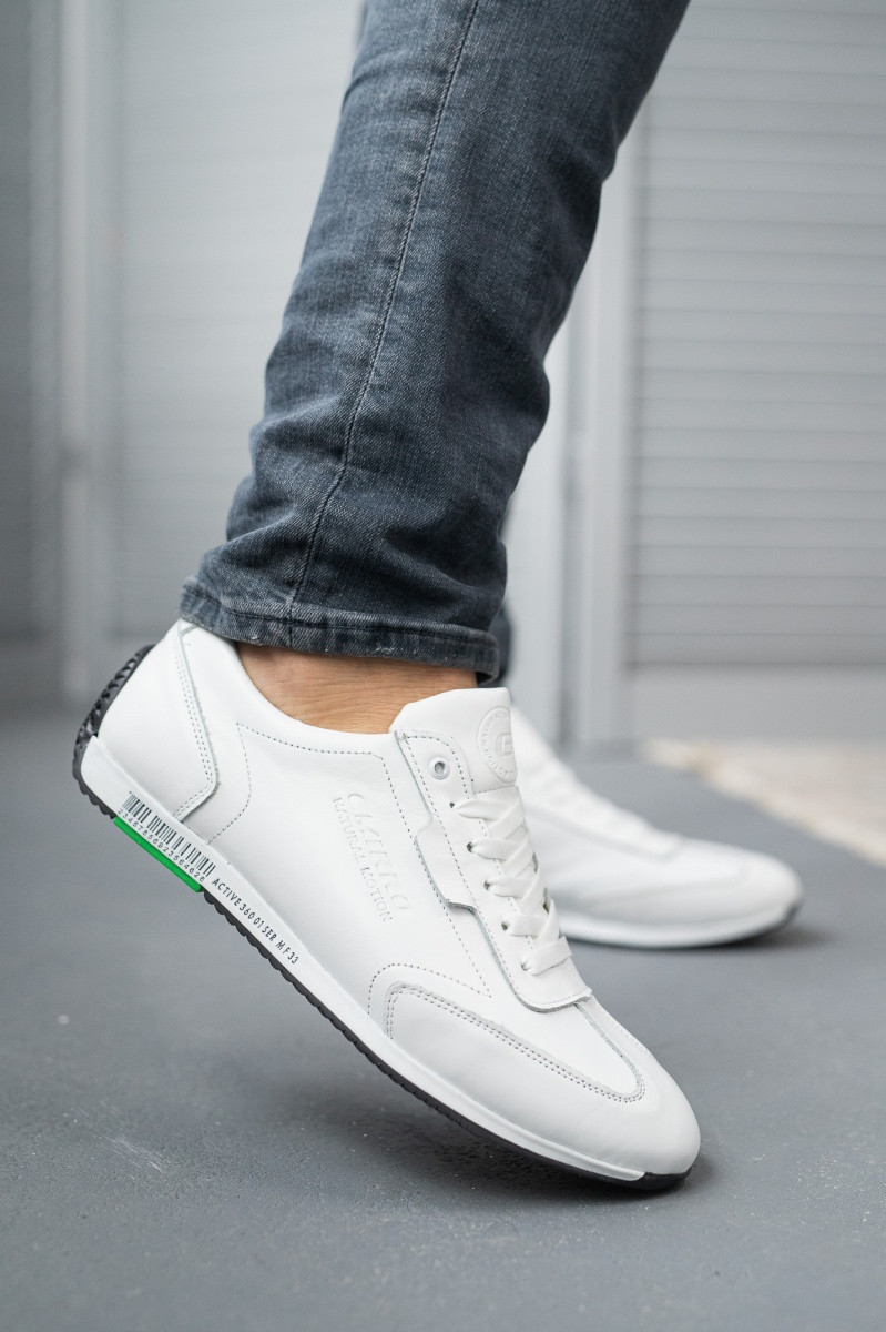 Мужские кроссовки кожаные Emirro White