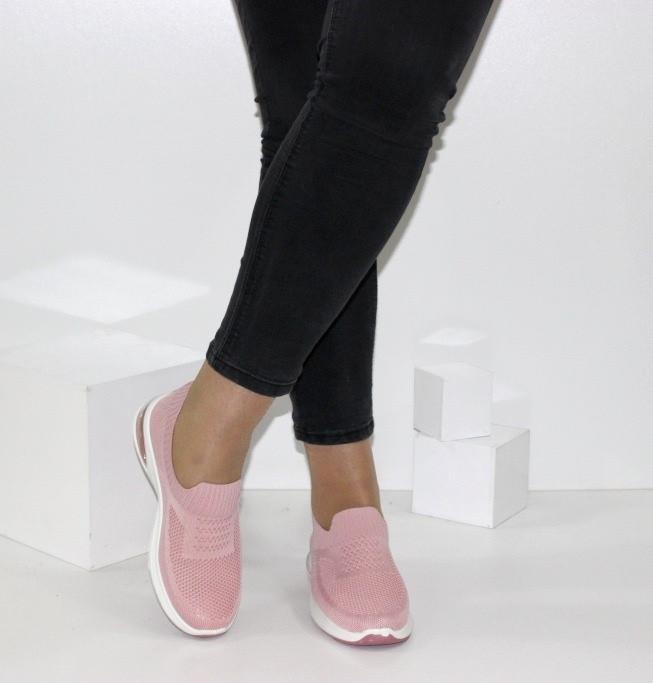 Женские текстильные кроссовки без шнурков розового цвета