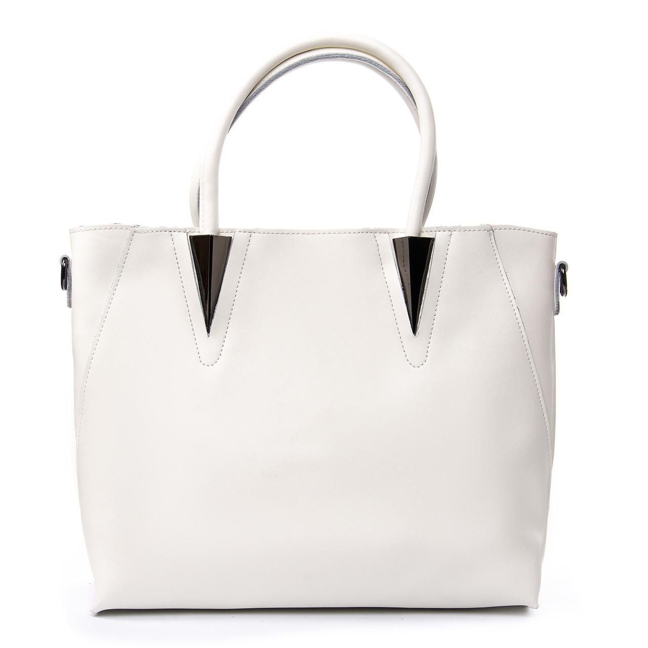 Жіноча сумка з натуральної шкіри в білому кольорі