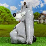"""Садовый декор Волк """"Щас спою"""" с мясом (46 см, керамика), фото 3"""