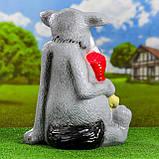 """Садовый декор Волк """"Щас спою"""" с мясом (46 см, керамика), фото 2"""