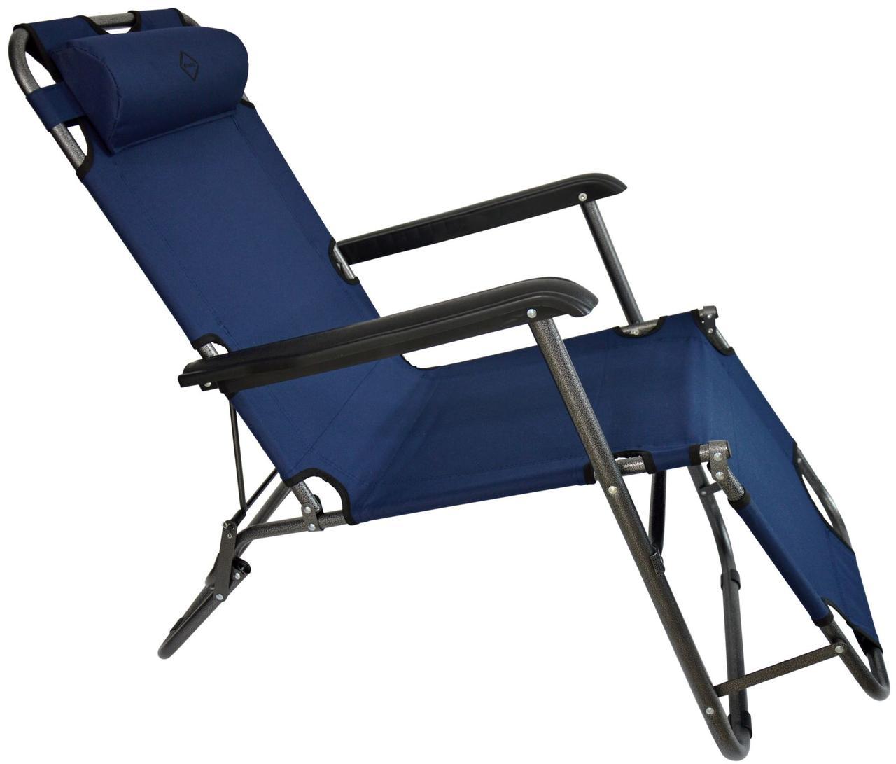 Шезлонг лежак Bonro 160 см темно-синий на 3 положения